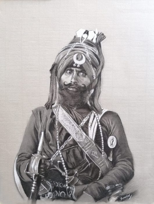 SK35 A2 'Nihang Sikh' it's charcoal and chalk on toned paper A2 and is £800.00